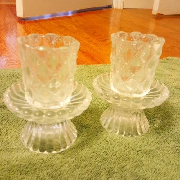 Set of 2 Partylite Quilted Crystal Pairs Hand-craf